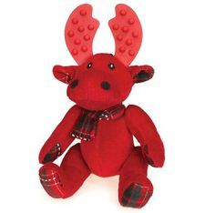 Make way for our Grriggles Yuletide Tartan Moose that celebrates the season with their classic tartan print that has silver threading woven throughout.Dogs will love playing with this adorably playful moose. Two different chewing textures make these Grriggles Yuletide Tartan Moose Dog Toy hooves and antlers above the rest. Made of soft plush with a festive print with rubber antlers.
