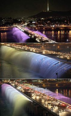 Banpo Bridge (South Korea): The Fountain Bridge    On September 9, 2008, the Banpo Bridge in Seoul (South Korea) got a major facelift: a 10,000-nozzle fountain that runs all the way on both sides. Immediately after being installed, the bridge turned into a major tourist attraction, as the bridge pumps out 190 tons of water per minute using the water from the river below. it's very beautiful
