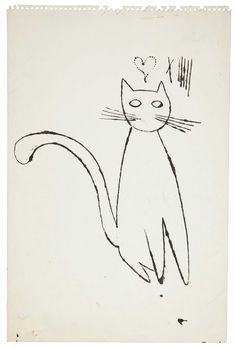 Andy Warhol was, of course, a cat lover.he lived in his Carnegie Hill townhouse throughout the and with his mother and 25 cats. Andy Warhol Drawings, Pop Art, F2 Savannah Cat, Cat Sketch, Artist Art, American Artists, Art History, Illustration Art, Illustrations
