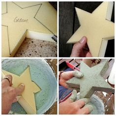 DIY tutorial star and concrete (use Google translate for a step-by-step).