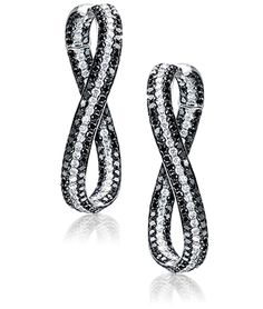 Twist Black and White Diamond Hoops