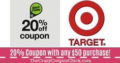 – Welcome The Crazy Coupon Chick Fans Target Deals, 20 Off, Coupons, 50th, Company Logo, Coupon