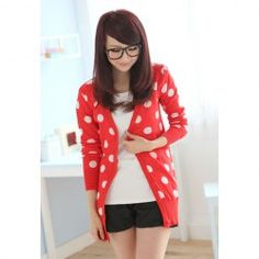 $8.93 Sweet V-Neck Long Sleeves Polka Dots Print All-Match Long Style Knitting Cardigan For Women