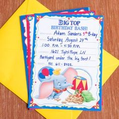 Dumbo Party Invites- cheap route. cute!