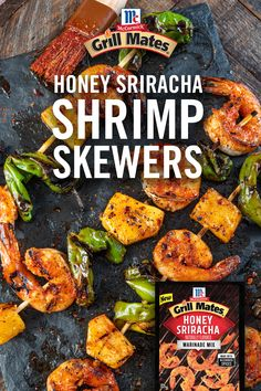 Ready in under 20 minutes these easy shrimp skewers have the perfect blend of tangy heat and sweet honey the whole family will love. Load skewers with the marinated shrimp, shishito peppers, and pineapple and char on the grill. Grilling Recipes, Fish Recipes, Seafood Recipes, Cooking Recipes, Healthy Recipes, Recipies, Shrimp Recipes For Dinner, Seafood Dinner, Shrimp Skewers