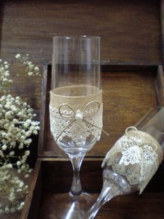 Wedding Toasting Glasses-rustic toasting by CraftStories on Etsy