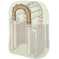 Illustration: Gregory Nemec | thisoldhouse.com | from How to Build a Garden Arbor Garden Archway, Garden Arbor, Garden Gates, Arbor Gate, Outdoor Projects, Garden Projects, Garden Ideas, Diy Wedding Arbor, This Old House