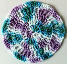 Crochet Circular Dishcloth Teal & Purple Skill / Level: Easy / Beginner FREE