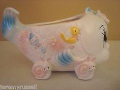 RARE Vintage Nursery Ceramic Large Big Eyed Fish Baby Planter Snail Wheels | eBay