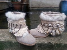 Luxury Beach Boho Upcycled Cowboy Boots, Bohemian Natural Hippie Boots, Boho Boots Gypsy Boots