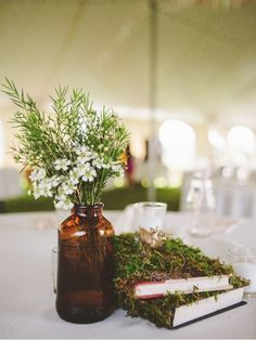 Rustic Moss Covered Books - Woodland Centerpieces