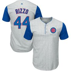 408146f80 Anthony Rizzo Chicago Cubs Majestic From the Stretch Pinstripe Name    Number T-Shirt -