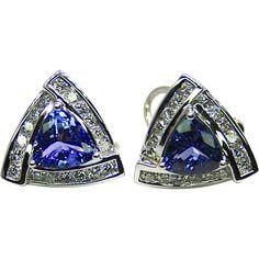 Estate Ladies Tanzanite and Diamond 18K White Gold Earrings from gondwanalandopals on Ruby Lane