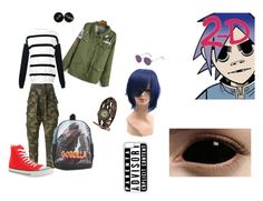 """""""GORILLAZ 2D"""" by rebelgeneration ❤ liked on Polyvore featuring TIBI, Faith Connexion, Converse, RetroSuperFuture and CellPowerCases"""