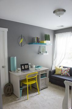 Love the grey, turquoise and yellow accents in this home office makeover!