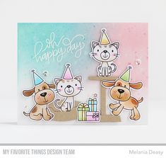 Oh Happy Day card by Melania Deasy for My Favorite Things - Furever Friends Dog Cards, Kids Cards, Card Kit, I Card, Beast Friends, Cute Birthday Cards, Mft Stamps, Friendship Cards, Beautiful Handmade Cards