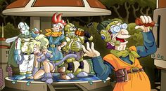 Artist depiction of SNES classic Chrono Trigger and Futurama. Awesome!