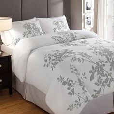 Great Bedroom Essemble - Love the colors & the simplicity *SO Serene* #grey #white #bedroom  #duvet #comforter #blanket