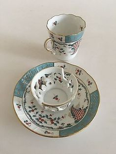Decorative Arts Antique Herend Indian Basket Blue Demitasse Set Rare And Stunning!