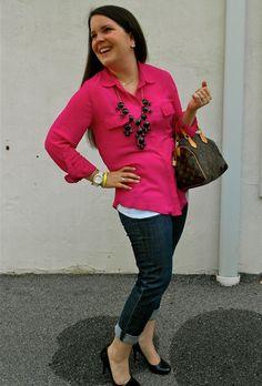 Hot pink blouse, boyfriend jeans, LV bag, and a black bubble necklace