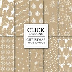 Christmas Digital Paper: CHRISTMAS KRAFT scrapbook by ClickDesigns