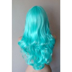 Mint blue wig. Long curly volume hair long side bangs Mermaid wig. Durable colored hair wig for Cosplay or Daily use. ($90) found on Polyvore featuring beauty products, haircare, hair color, hair and curly hair care