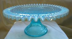 """1940s""""Fenton Glass"""" Blue Opalescent Hobnail""""13""""Cake Plate Stand"""