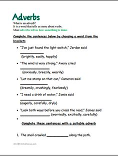 What is an Adverb? Worksheet | Adverbs, Worksheets and Free printable