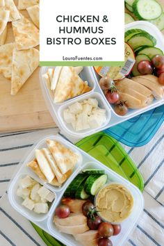 You're going to love these quick Chicken and Hummus Bistro Boxes! I love making . You're going to Easy Healthy Meal Prep, Lunch Recipes, Healthy Dinner Recipes, Real Food Recipes, Healthy Snacks, Chicken Recipes, Ic Recipes, Quick Snacks, Salad Recipes