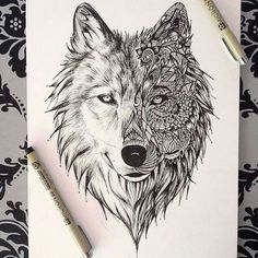 zentangle art animals wolf - Google Search