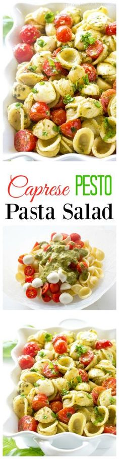 Caprese Pesto Pasta Salad - the traditional Caprese salad in pasta form! the-girl-who-ate-everything.com