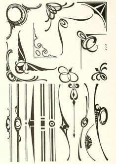 """Art nouveau borders and ornaments From the public domain ebook, """"The art of show card writing; a modern treatise covering all branches of the art ... with one hundred and fifty-three illustrations and thirty-two lettering plates, comprising all the standard ancient and modern styles (1922)."""" Download in epub, kindle or PDF format here: https://archive.org/stream/artofshowcardwri00stro"""
