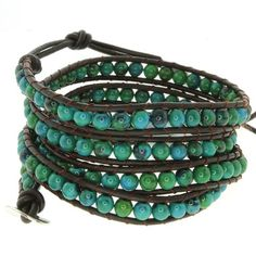 "28"" Blue/Green Beads on Dark Brown Leather Wrap Bracelet with Snap Button Lock"