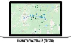 Highway of Oregon Waterfalls Road Trip Famous Waterfalls, Oregon Waterfalls, Beautiful Waterfalls, Forest Waterfall, Waterfall Hikes, Oregon Road Trip, Oregon Travel, Ramona Falls, Multnomah Falls