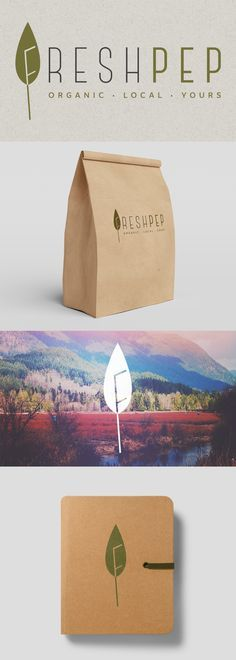 """The goal of this logo design and branding project for Freshpep, an online grocery store for health-conscious consumers, was to convey the organic and natural aspect of in-store product selection right away. The """"leaf + F"""" idea helps to build a recognizable and memorable brand mark. We chose to use craft paper to communicate the warm and traditional spirit of the brand."""
