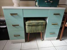 Mid Century Modern White & Tiffany Box Blue Desk or Vanity (Los Angeles). $450.00, via Etsy.