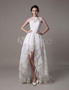 Vestido de novia de encaje con escote transparente de cola asimétrica Milanoo