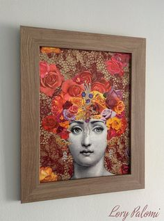 Original artwork part of the series Fading Beauty. The portrayed faces are repeated within the series, but compositions are always different. Made using the decoupage technique with reproduced stock images from XIXth century engravings and floral cutouts from magazines and old horticultural enciclopedias. This artwork portrais the beautiful italian opera singer Lina Cavalieri, Fornasetti´s muse. Over a burgundy and gold stenciled doily background, Lina appears under a cascade of falling…