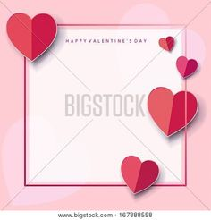 Valentine's Day or Wedding Day greeting card with hearts, frame, festive pink background. Vector border. Romantic poster with hearts, festive background. Love, poster, banner, e-card, postcard envelope. Advertising, design, Origami Cut paper heart