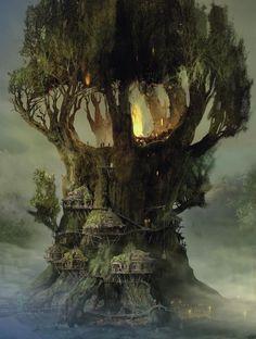 """""""sanctuary""""  ☆ Magical tree house ☆  ☆ ♥ Maison dans l'arbre magique ♥ ☆  By / Par taliscope.com"""