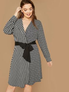 Plus Plaid Spliced Waterfall Coat With Belt  Houndstooth black & white