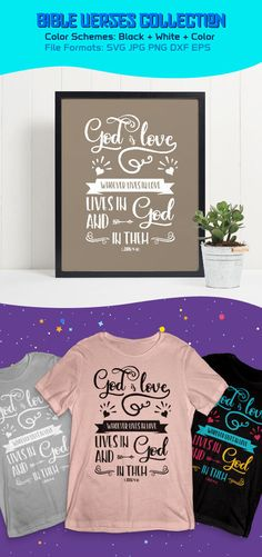 Hi, check this awesome new lettering design on my  #etsy shop: Bible Verse SVG - God is love, Bible Verse Printable, Christian SVG, Christian Printable, Biblical SVG, Commercial Use, Cut File, Silhouette https://etsy.me/2EExrjV #bibleversesvg #christiansvg #bibleverse