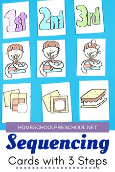 Kids will begin to make sense of the order in which events happen when you introduce them to sequencing with these 3 step sequencing cards for kids. Preschool Centers, Preschool Themes, Preschool Learning, Kindergarten Classroom, Literacy Centers, Free Homeschool Curriculum, Homeschooling Resources, Sequencing Cards, Educational Activities For Kids