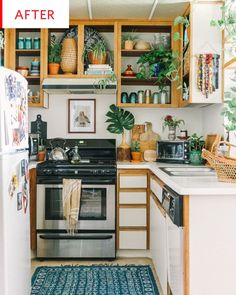 24 Cool Boho Kitchen Decor Ideas - potted plants and greenery and a boho chic rug plus wicker baskets for a boho chic kitchen - Kitchen Interior, Rustic Modern Kitchen, Cozy Kitchen, Kitchen Decor, Boho Kitchen, Boho Kitchen Decor, Kitchen Remodel Design, Small Apartment Kitchen, Rental Kitchen Makeover