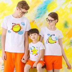 Family T Shirts Summer Family Matching Clothes Father Mother Kids Cartoon Outfits New Cotton Tees