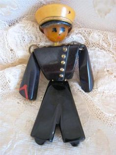 Vintage 1940s Bakelite Sailor Man Brooch Articulated Butterscotch Black with Hat