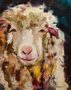 ARTOUTWEST LAMB SHEEP ANIMAL ART By Diane Whitehead, painting by artist Diane Whitehead