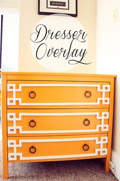 DIY Dresser Overlay. Just use hot glue and a saw. Piece list included in tutorial.