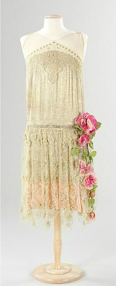 Ivory silk drop-waist French evening dress with pink roses, ca 1925