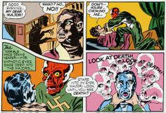 First appearance of the Red Skull in Captain America #1 (although the character was reintroduced in Captain America #7 as Johann Schmidt/Red Skull and this one pictured was an imposter).